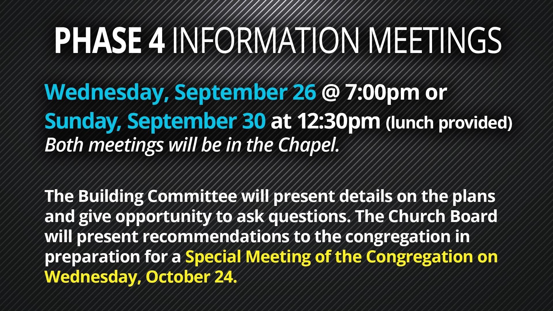 Phase 4 meetings